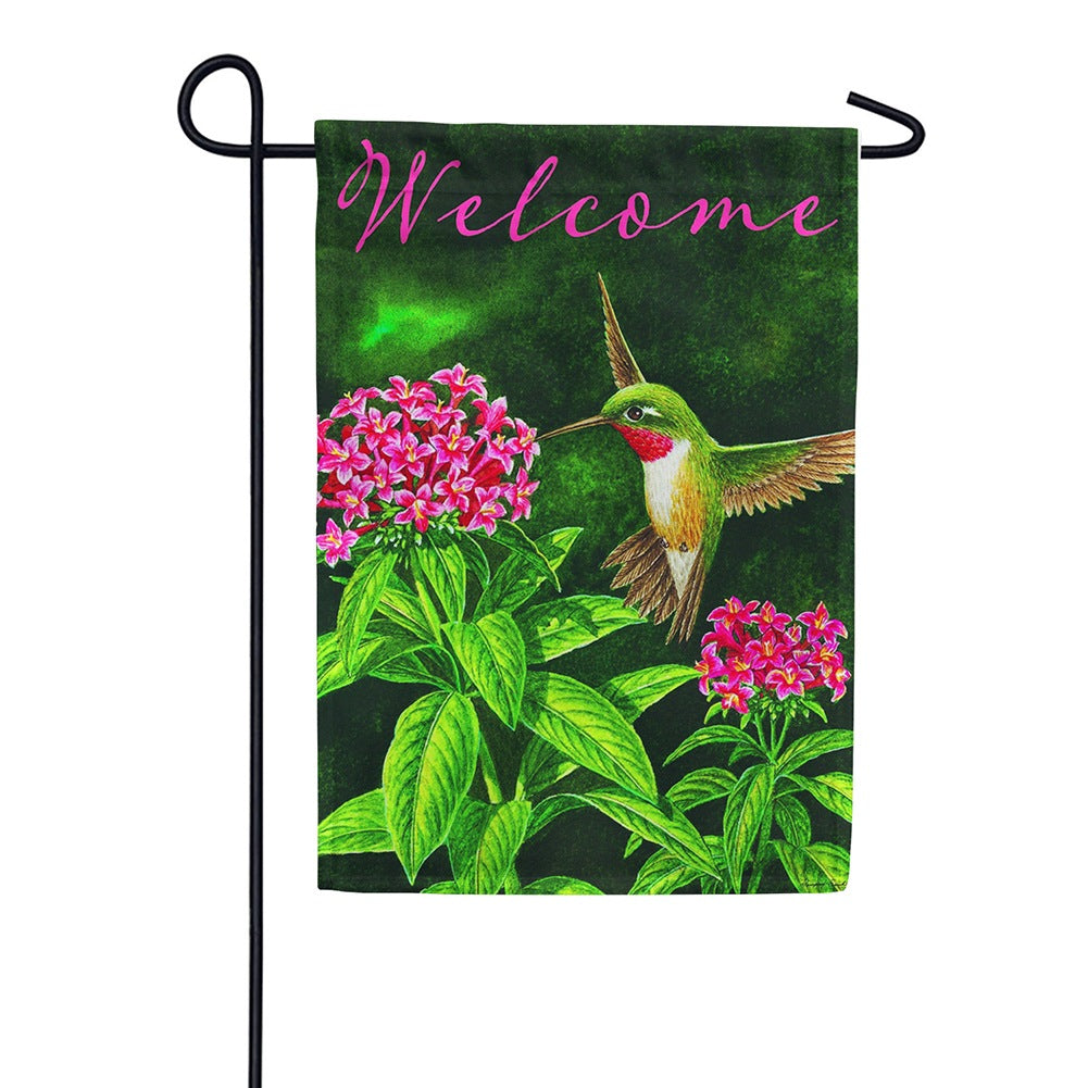 Welcome Hummingbird Floral Double Sided Garden Flag