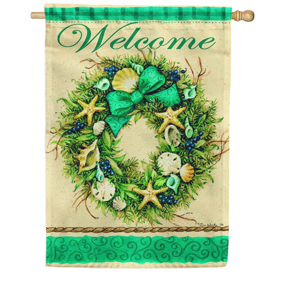 Coastal Wreath Welcome Double Sided House Flag