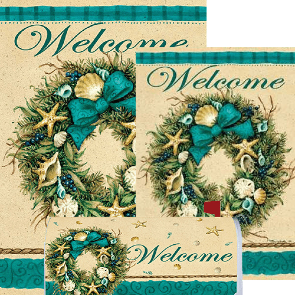 Coastal Wreath Welcome Yard Makeover Set (3 Pieces)