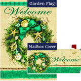 Coastal Wreath Welcome Double Sided Flag Mailwrap Set (2 Pieces)