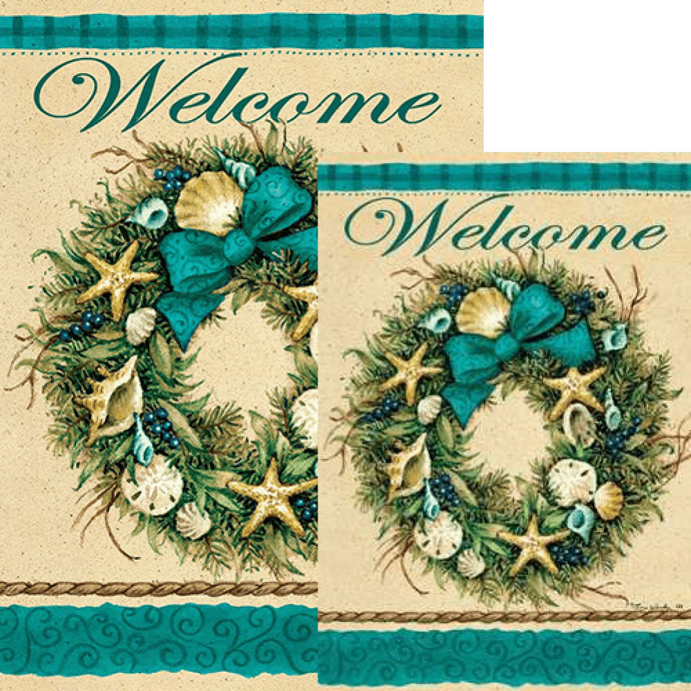 Coastal Wreath Welcome Double Sided Flags Set (2 Pieces)
