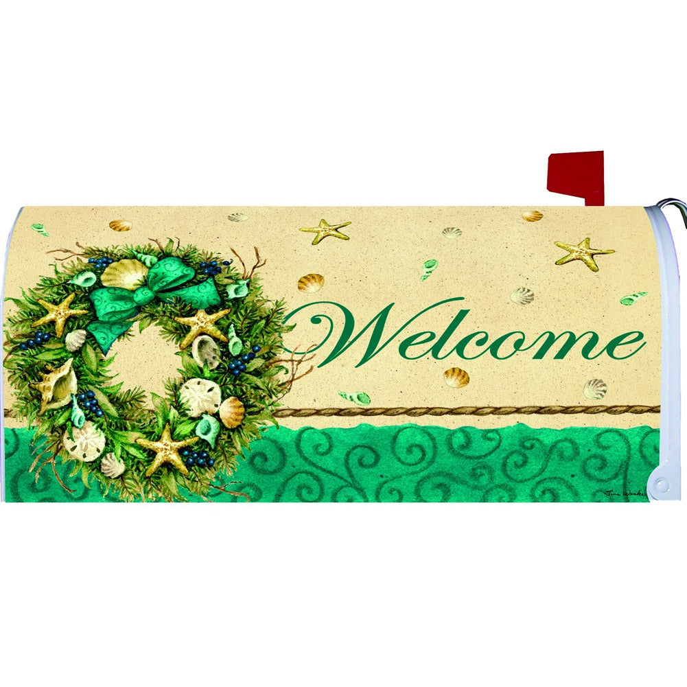Coastal Wreath Welcome Mailbox Cover