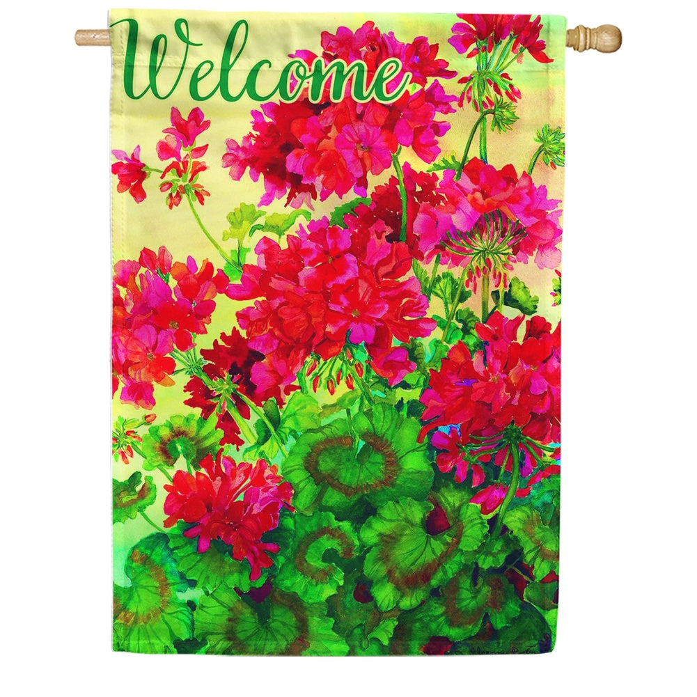 Welcome Geraniums By Joanne Porter Double Sided House Flag