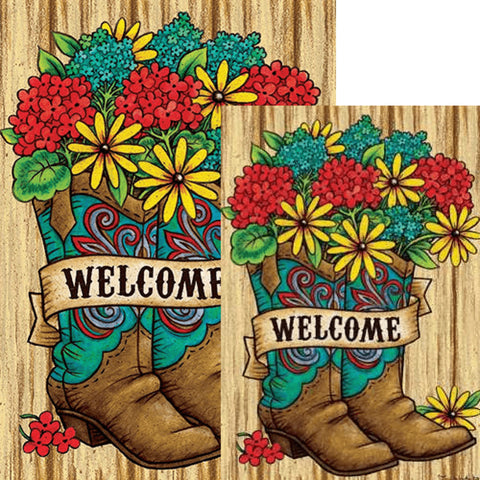 Boots Bouquet Welcome Double Sided Flags Set (2 Pieces)