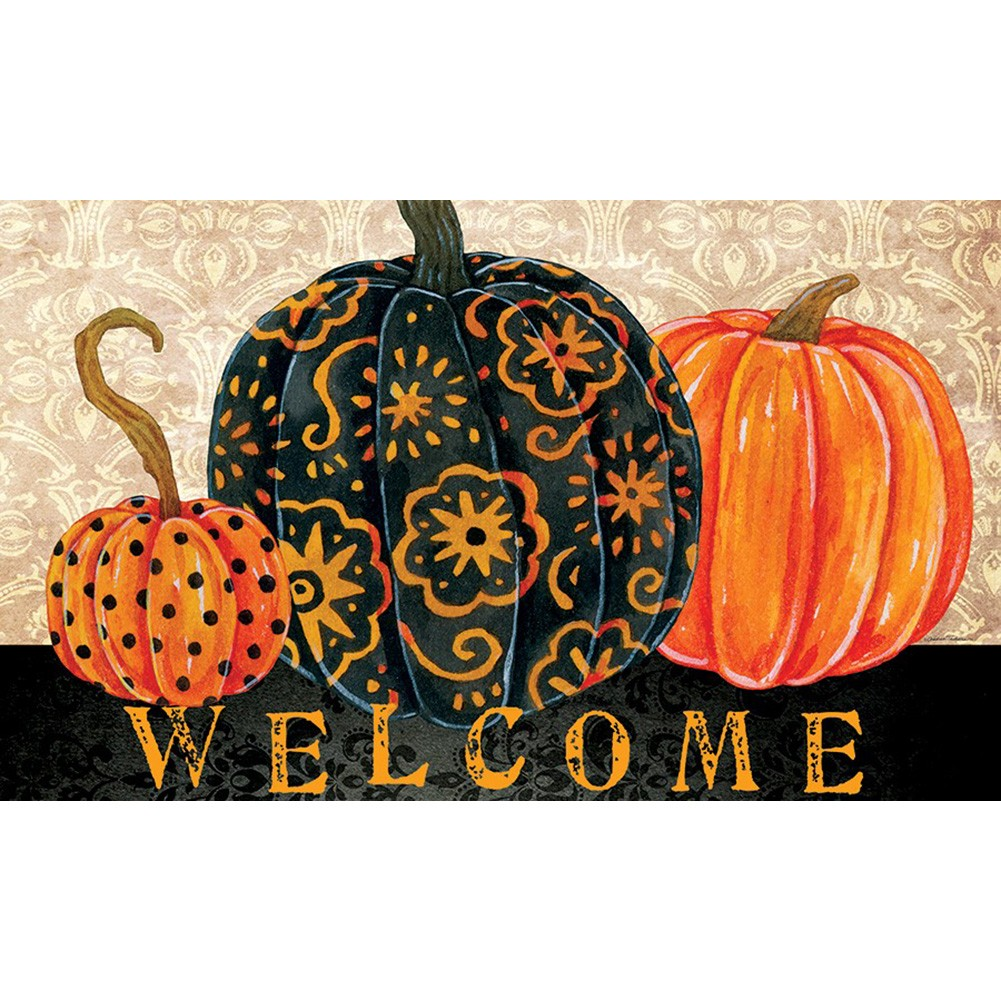 Elegant Pumpkins Welcome Floormat