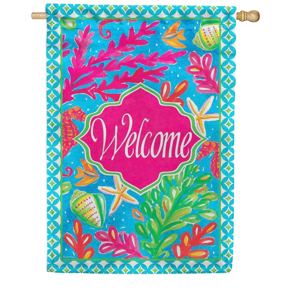 Custom Decor Tropical Welcome Double Sided House Flag