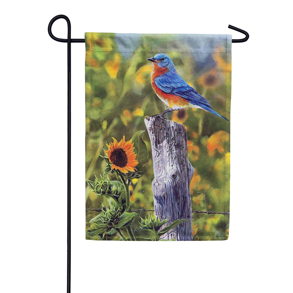 Bluebird Sunflowers Garden Flag