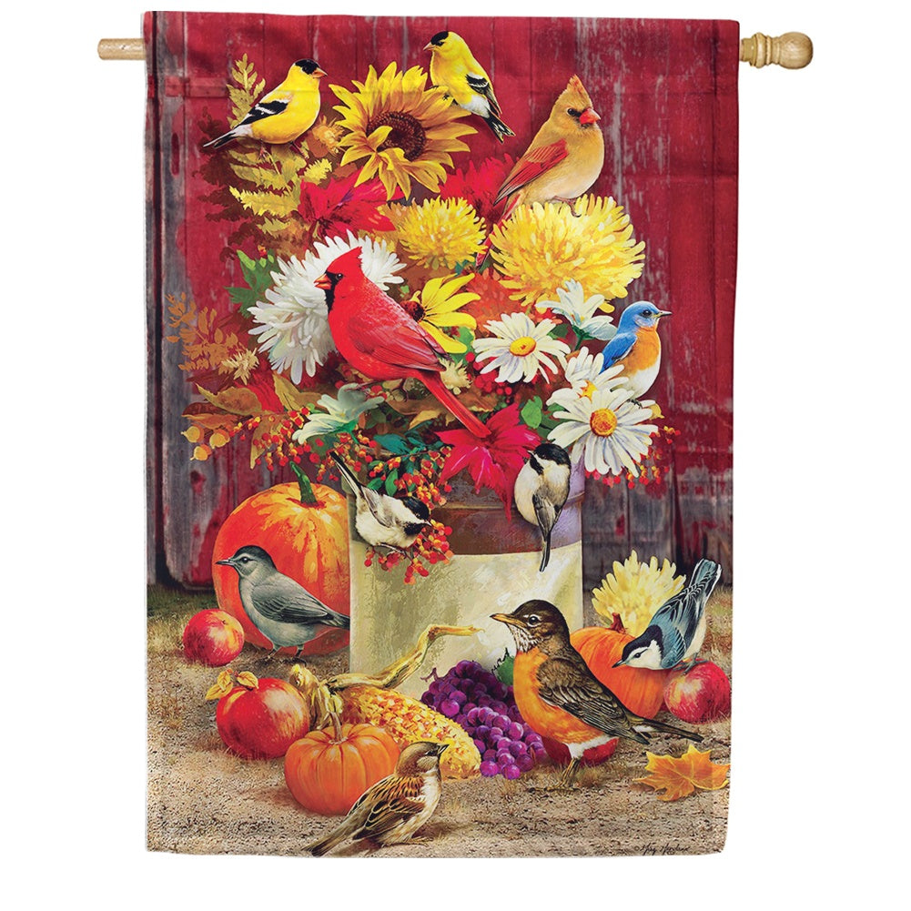 Autumn Songbirds & Flowers House Flag