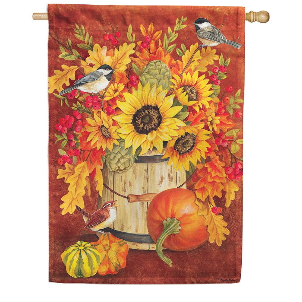 Chickadee Sunflowers House Flag