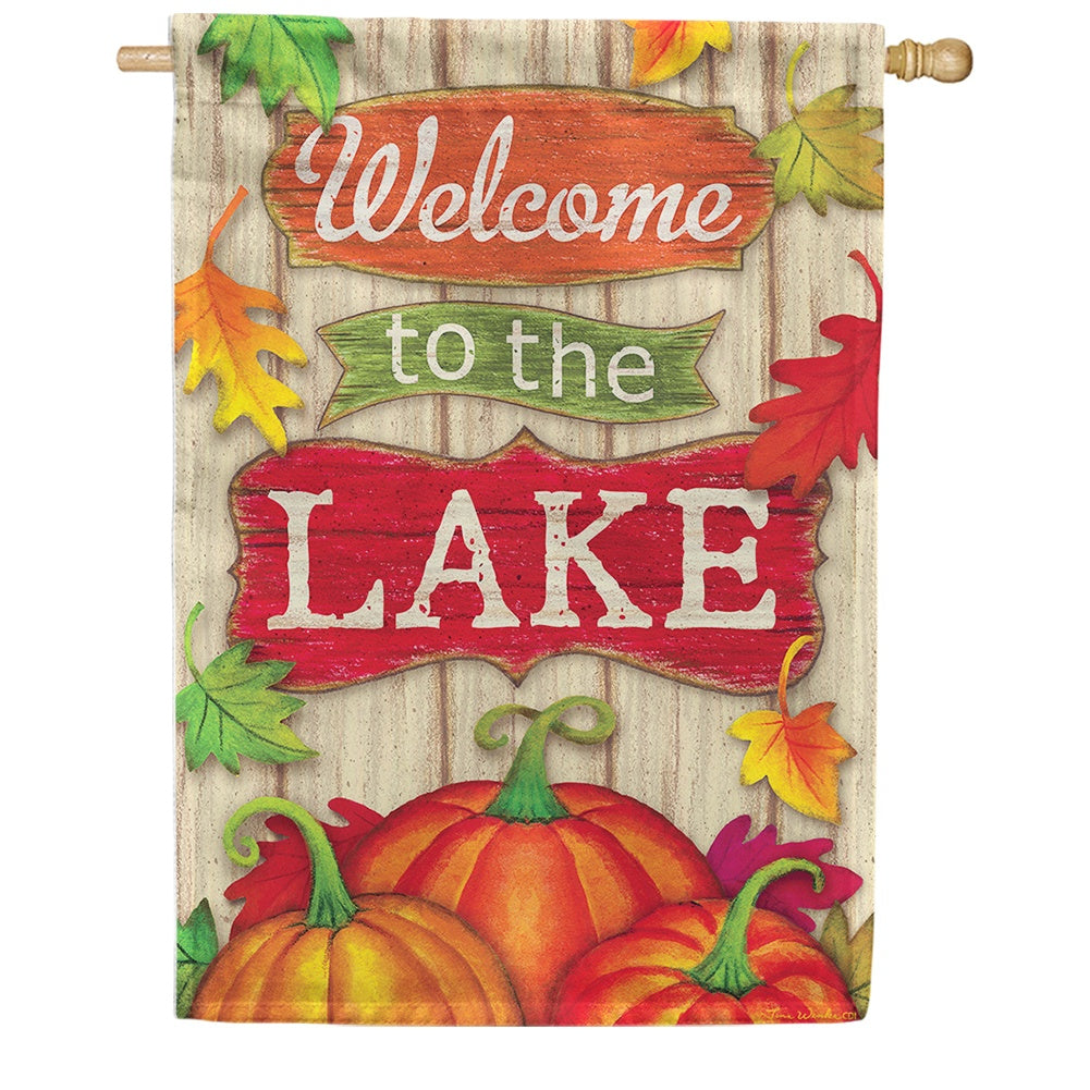 Lake Welcome Fall Double Sided House Flag