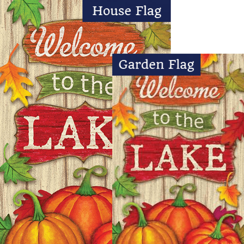 Lake Welcome Fall Double Sided Flags Set (2 Pieces)