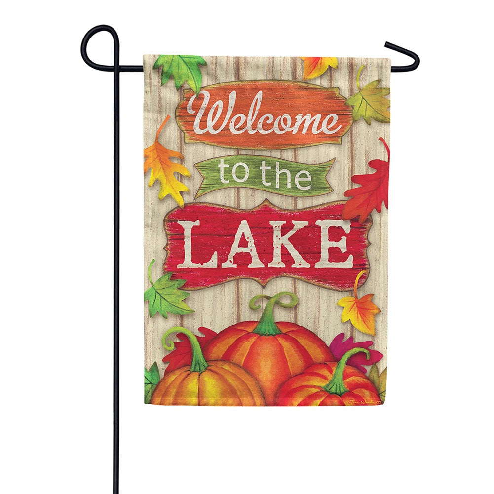 Lake Welcome Fall Double Sided Garden Flag