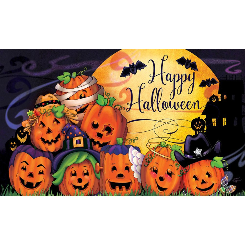 Happy Halloween Jack O' Lantern And Bats Doormat