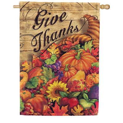 Horn Of Plenty Give Thanks Double Sided House Flag