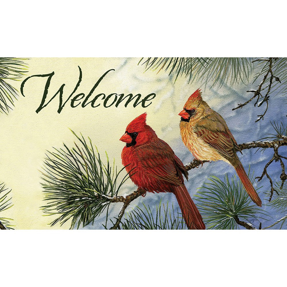 Cardinal Couple Welcome Doormat
