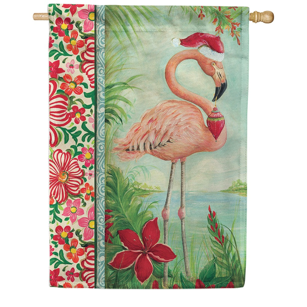 Holiday Flamingo House Flag