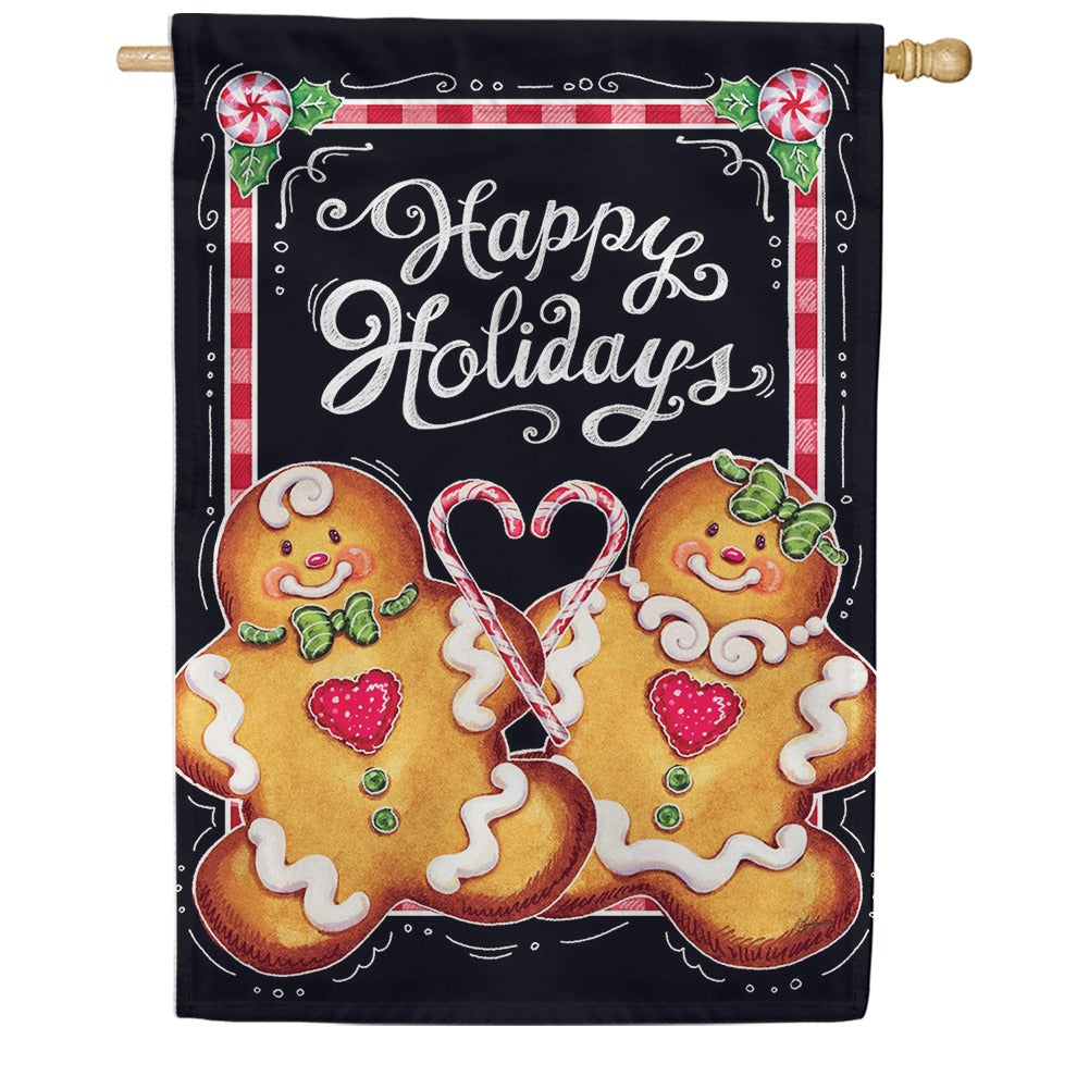 Gingerbread Happy Holidays Double Sided House Flag