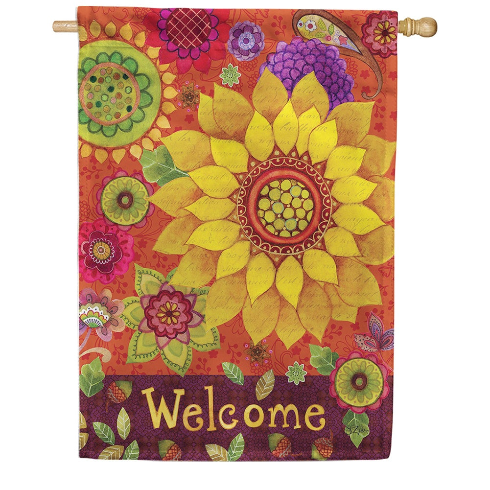 Fall Welcome Floral Double Sided House Flag
