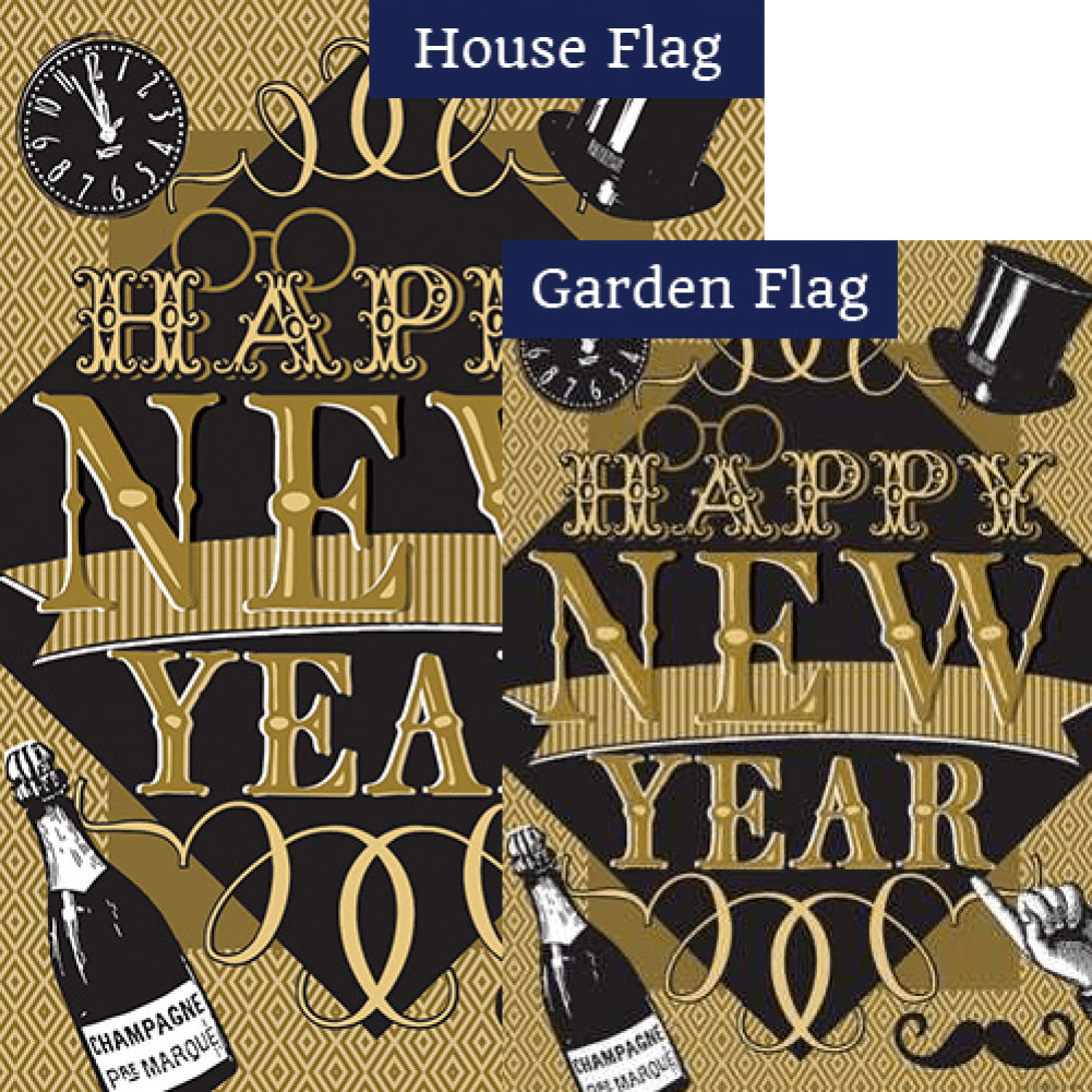 Happy New Year Double Sided Flags Set (2 Pieces)