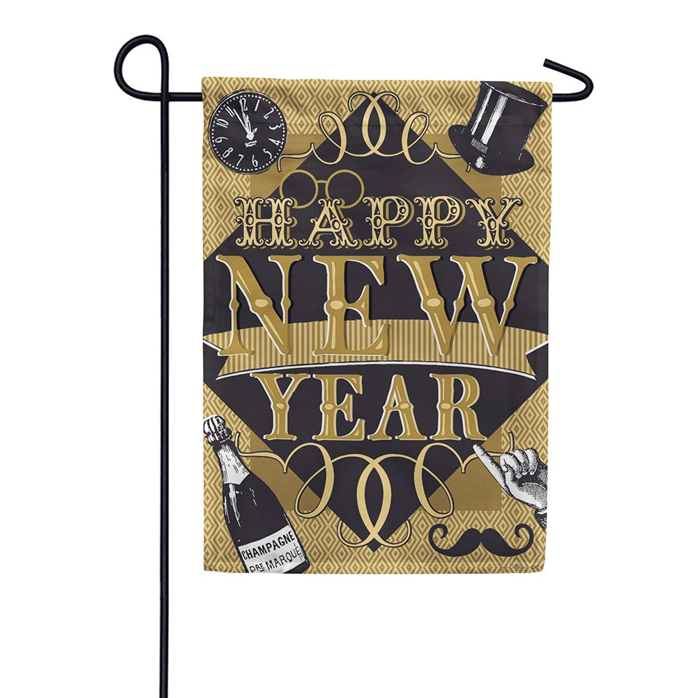 Happy New Year Double Sided Garden Flag