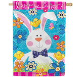 Easter Bunny Flowers Double Sided House Flag