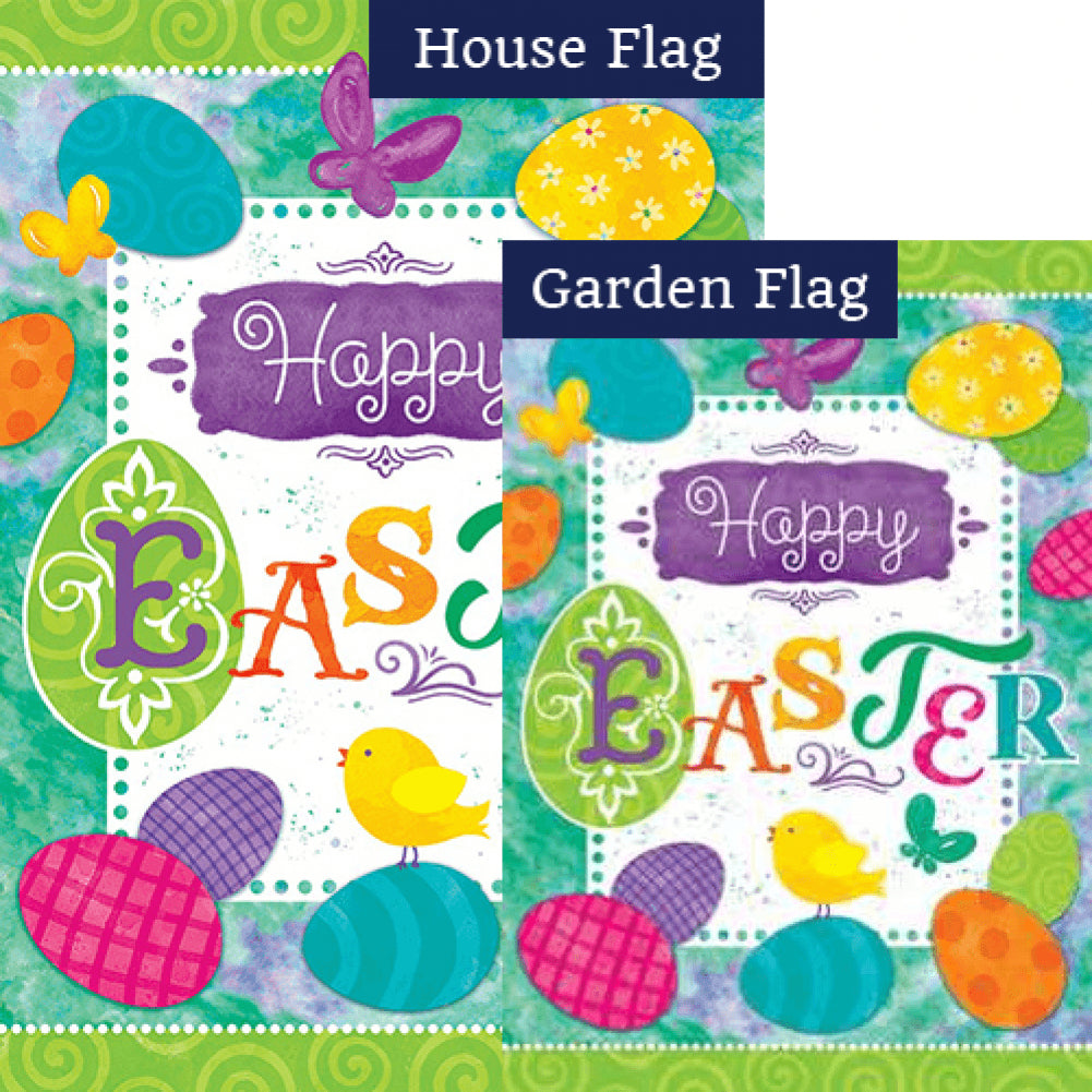 Easter Eggs Double Sided Flags Set (2 Pieces)