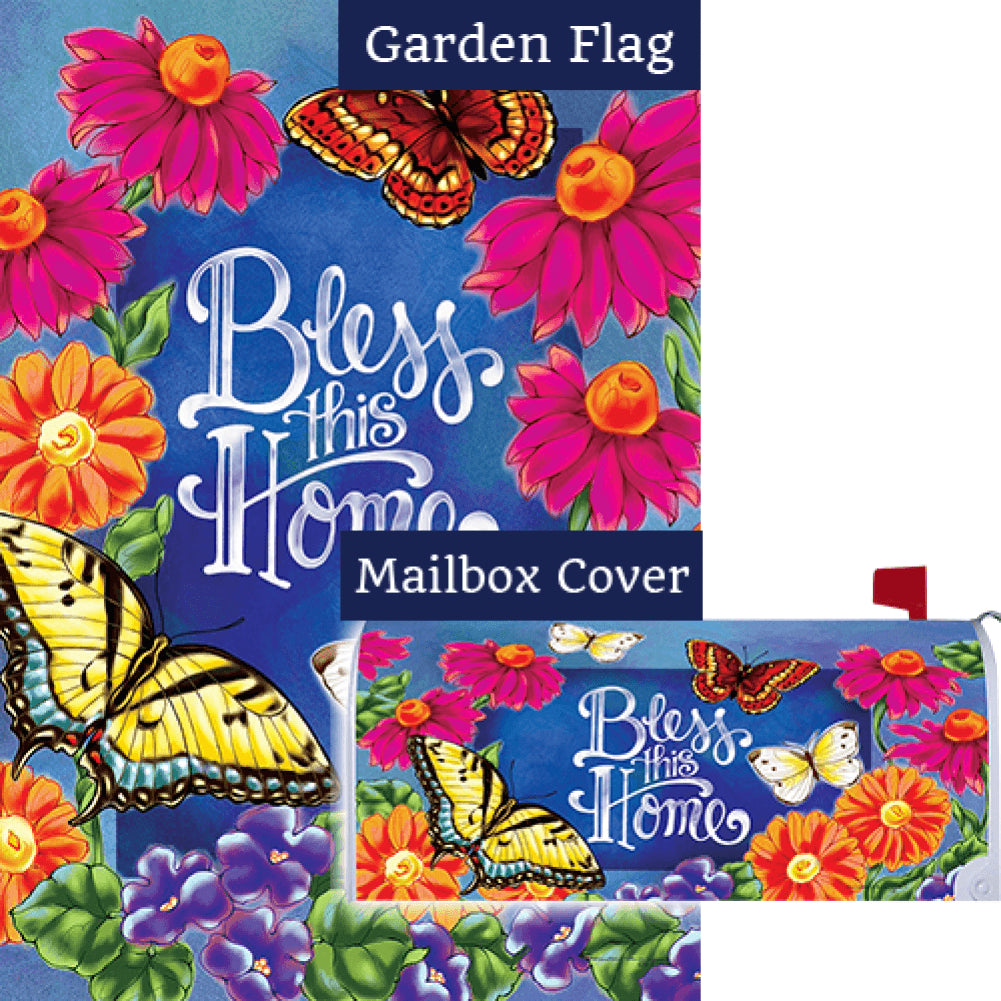Bless This Home Flowers Double Sided Flag Mailwrap Set (2 Pieces)
