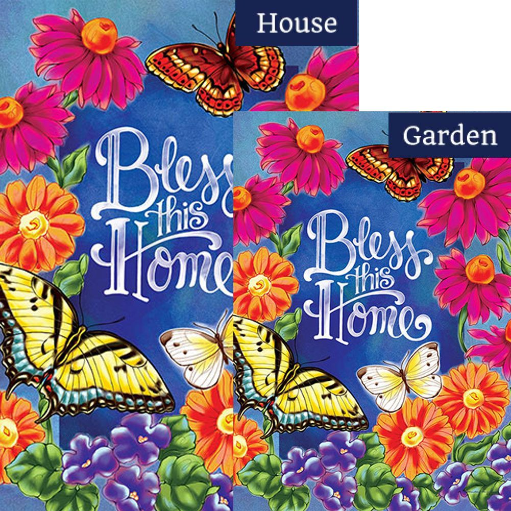 Bless This Home Flowers Double Sided Flags Set (2 Pieces)