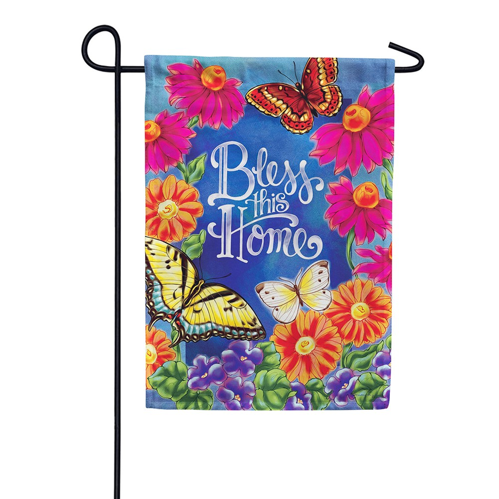 Bless This Home Flowers Double Sided Garden Flag