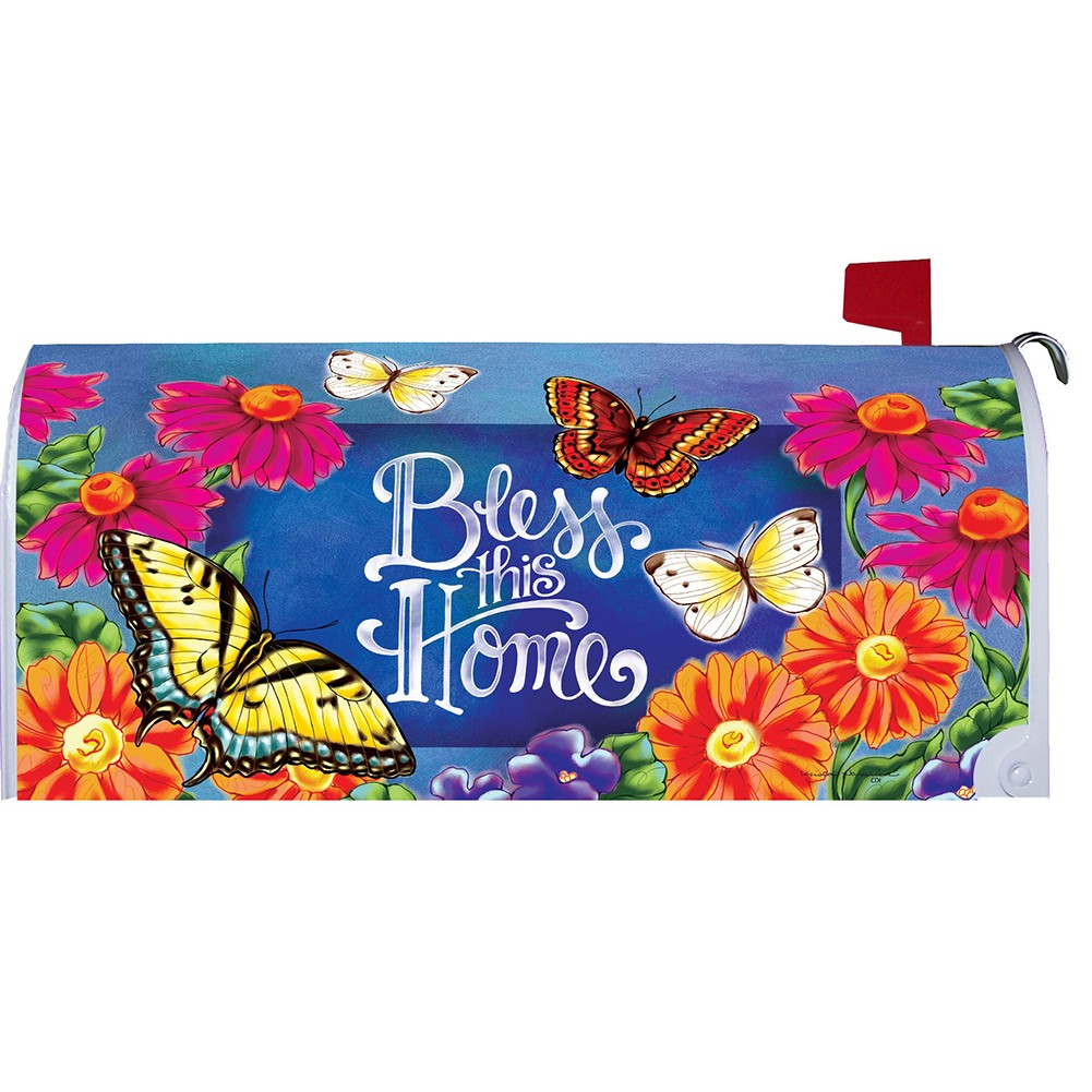 Custom Decor Bless This Home Flowers Mailbox Cover