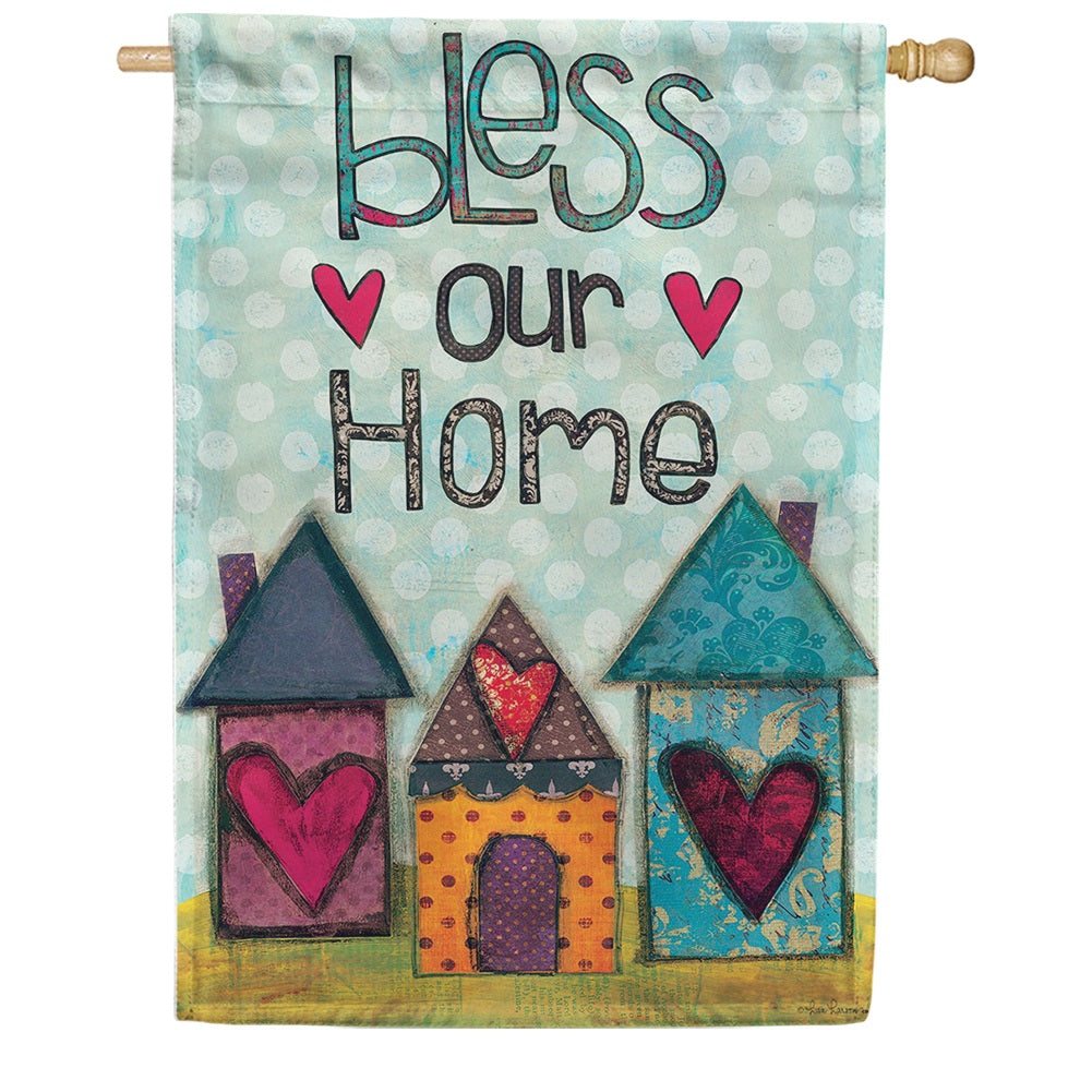 Bless Our Home Hearts Double Sided House Flag