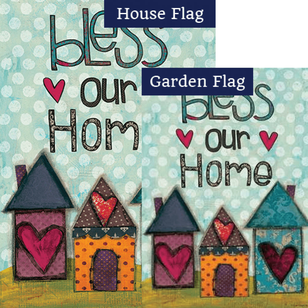 Bless Our Home Hearts Double Sided Flags Set (2 Pieces)