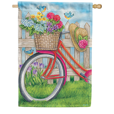 Bicycle Basket Flowers House Flag