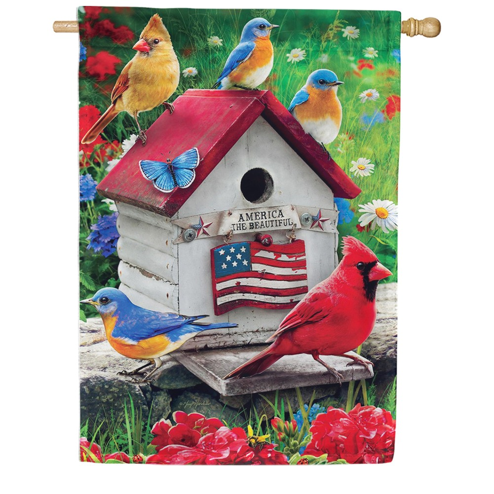 Cardinals & Bluebirds House Flag