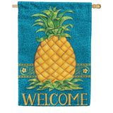 Pineapple Welcome Blue House Flag