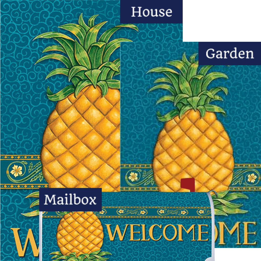 Pineapple Welcome Blue Yard Makeover Set (3 Pieces)