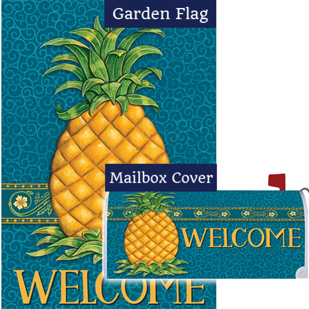Pineapple Welcome Blue Flag Mailwrap Set (2 Pieces)