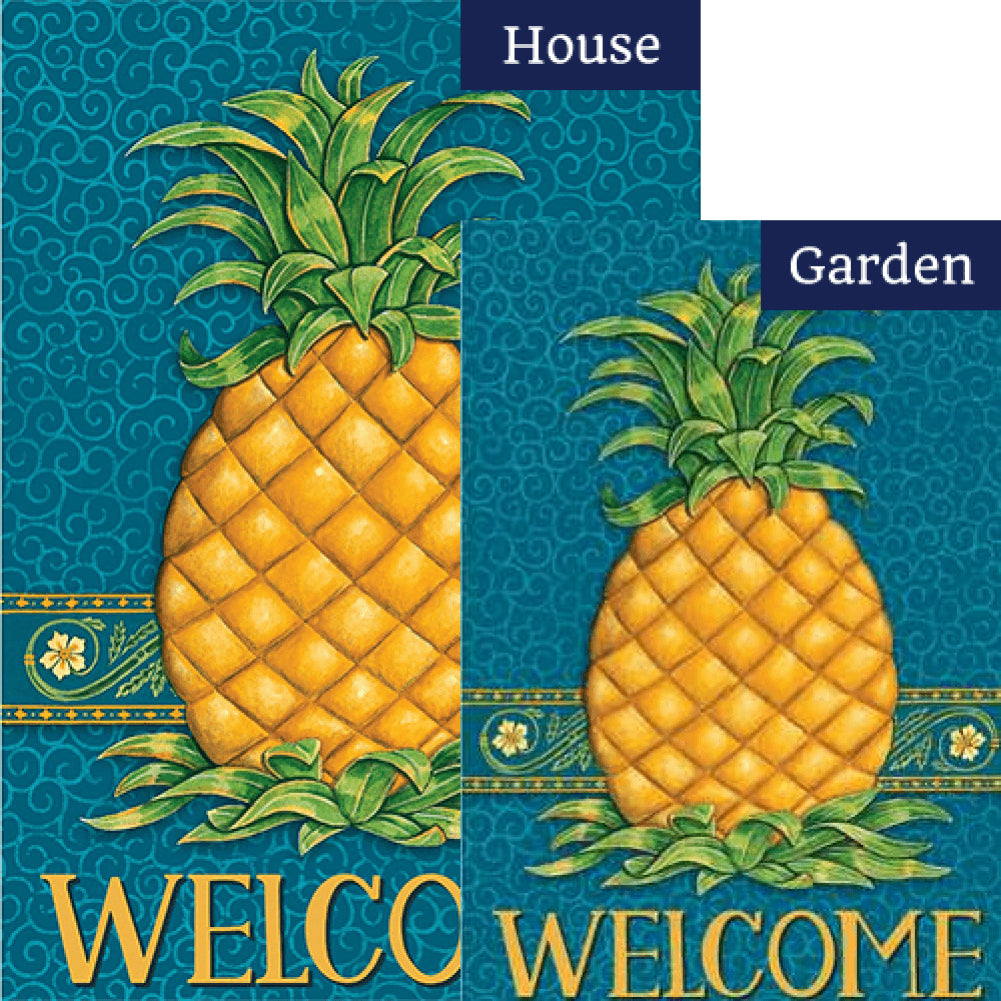 Pineapple Welcome Blue Flags Set (2 Pieces)