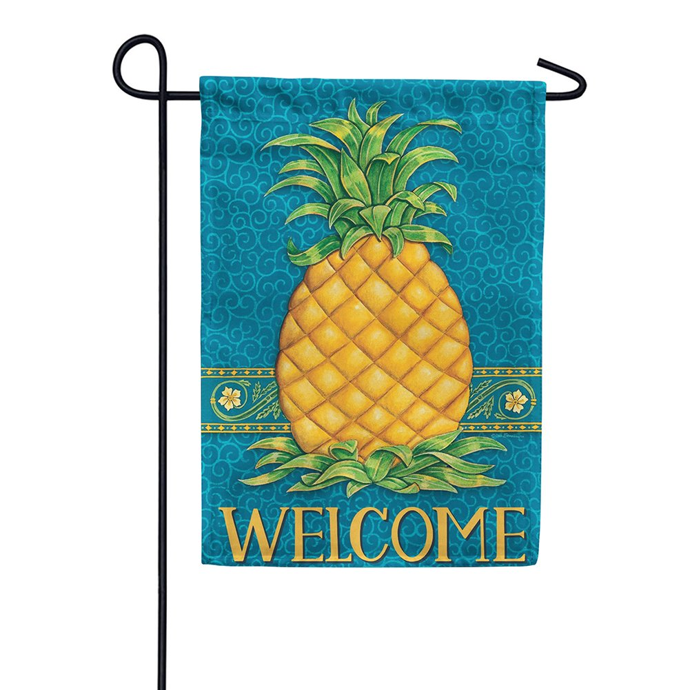 Pineapple Welcome Blue Garden Flag