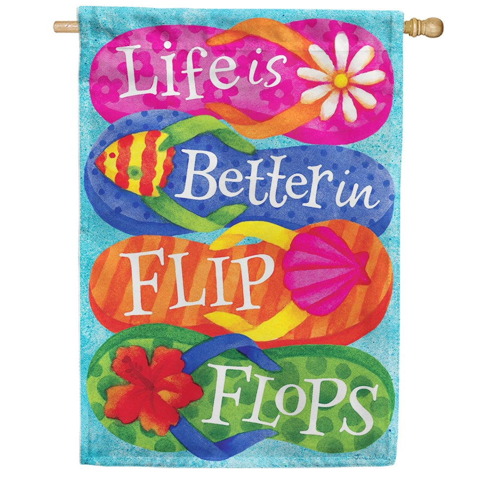 Better in Flip Flops Floral Double Sided House Flag