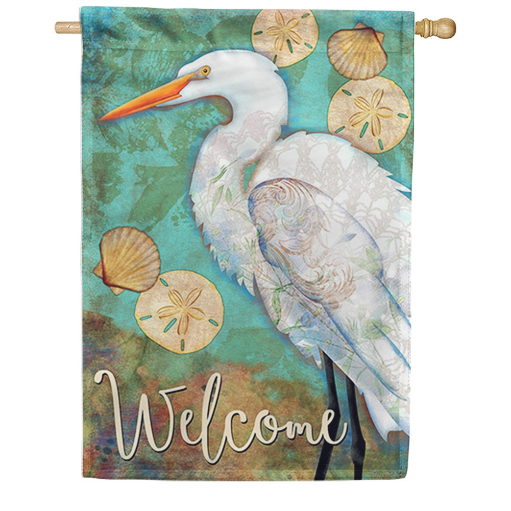 White Egret Double Sided House Flag