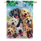 Dog Selfie Double Sided House Flag