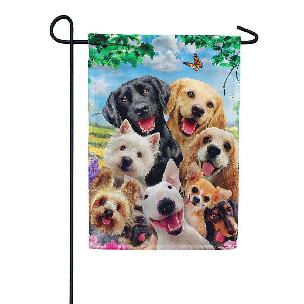 Dog Selfie Garden Flag