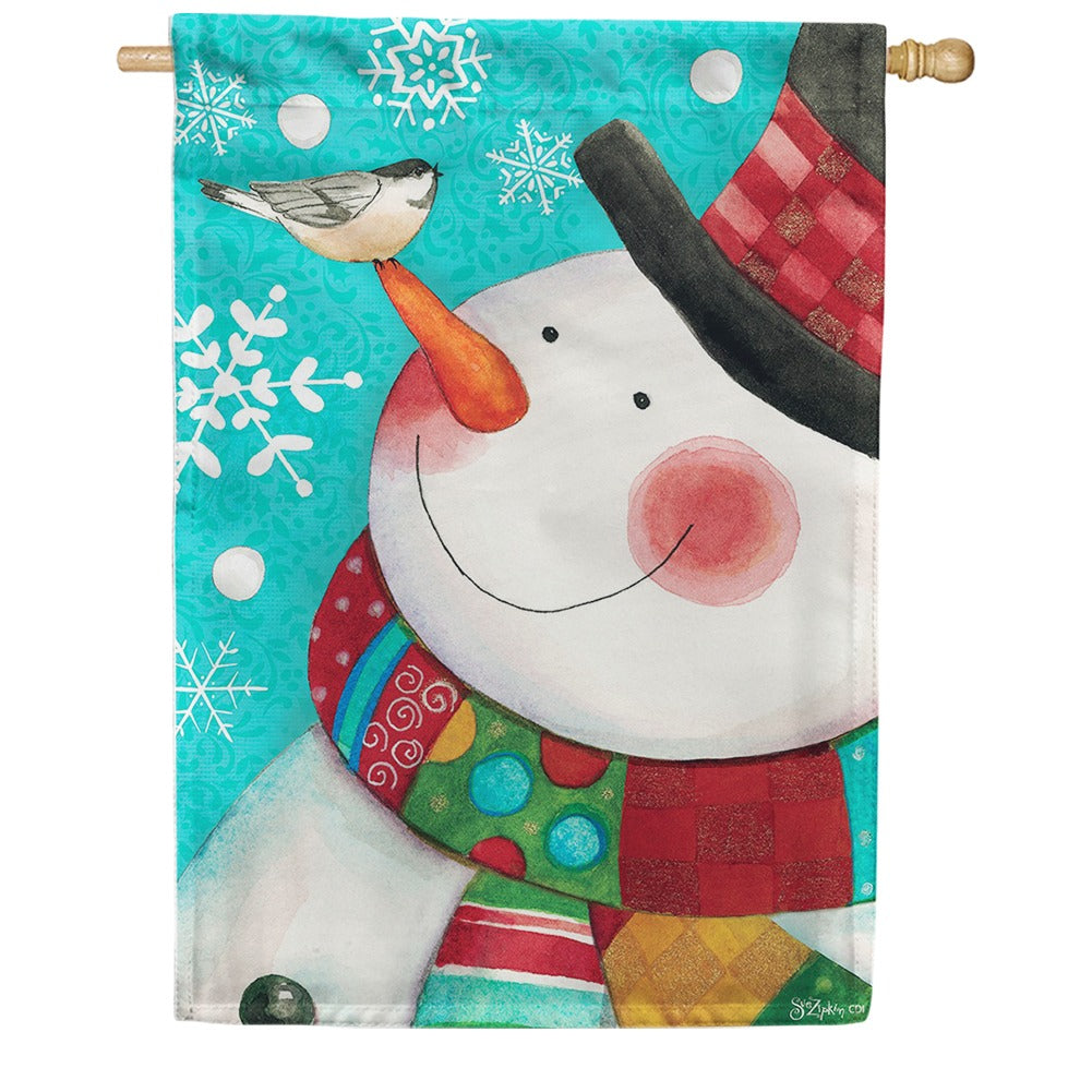 Dapper Snowman Chickadee Double Sided House Flag