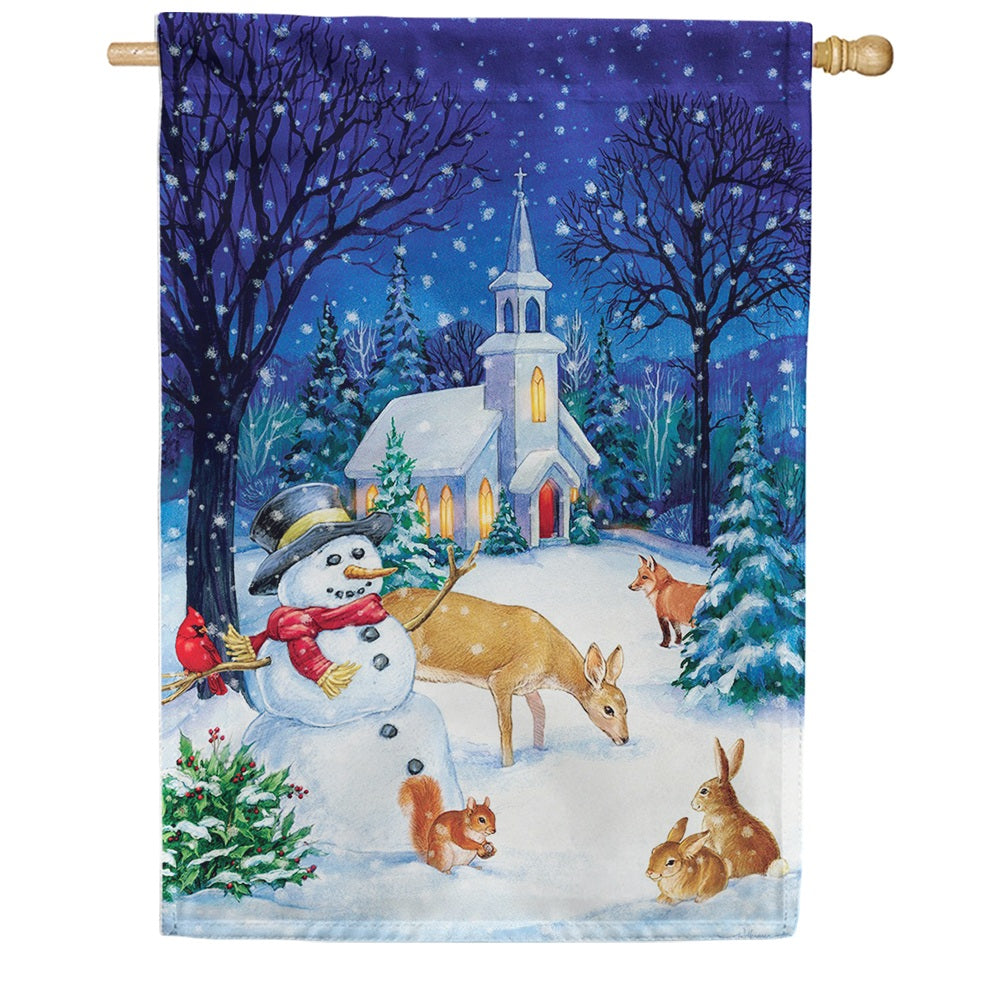 Church Snowman Double Sided House Flag