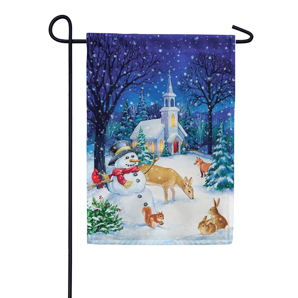 Church Snowman Double Sided Garden Flag