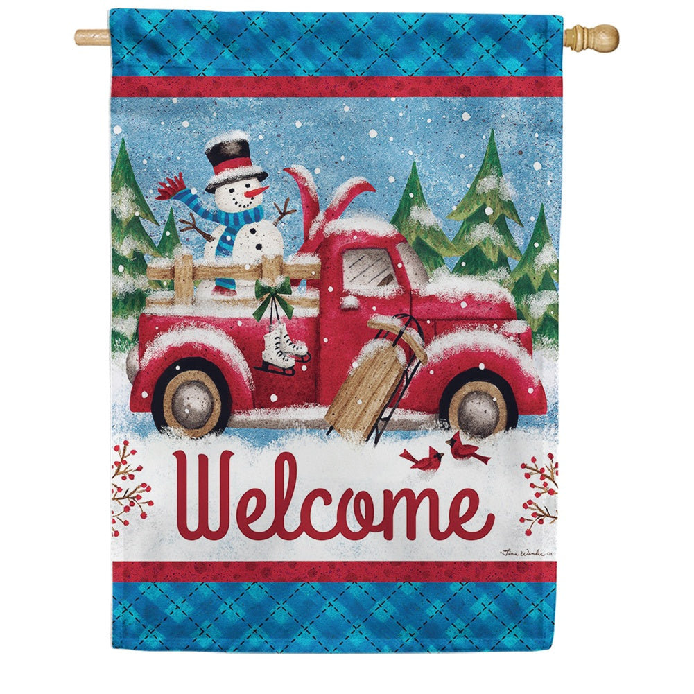 Winter Truck Double Sided House Flag