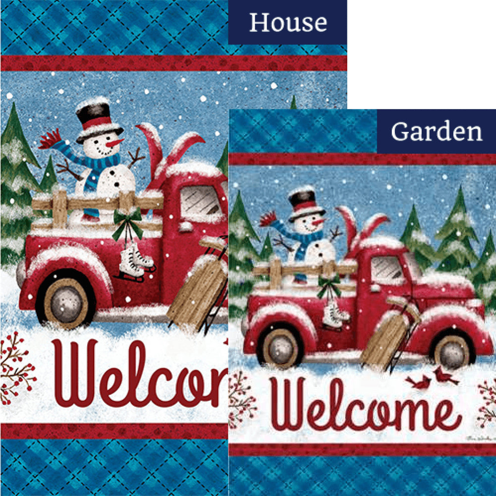 Winter Truck Double Sided Flags Set (2 Pieces)