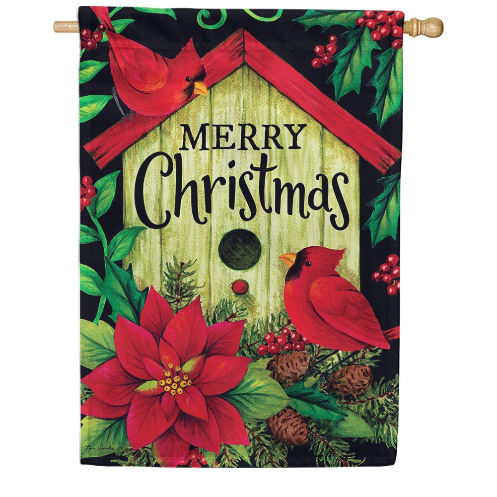 Merry Christmas Birdhouse Double Sided House Flag