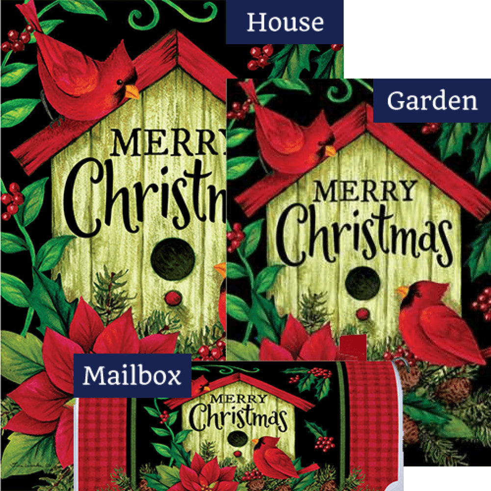 Merry Christmas Birdhouse Double Sided Yard Makeover Set (3 Pieces)